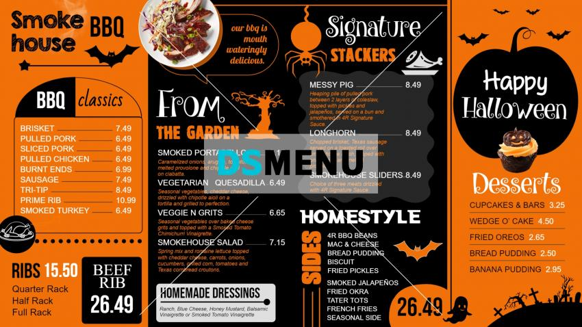 Halloween signage menu board design for restaurants