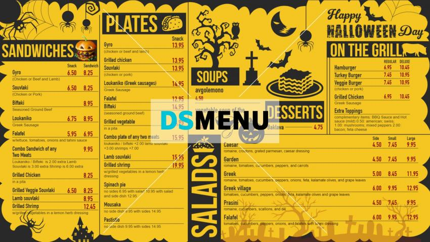 Yellow halloween menu board for digital signage for restaurants
