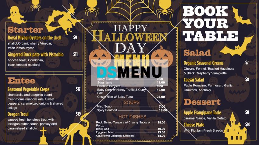 Creative Halloween Signage Menu Design Concept from DSMenu