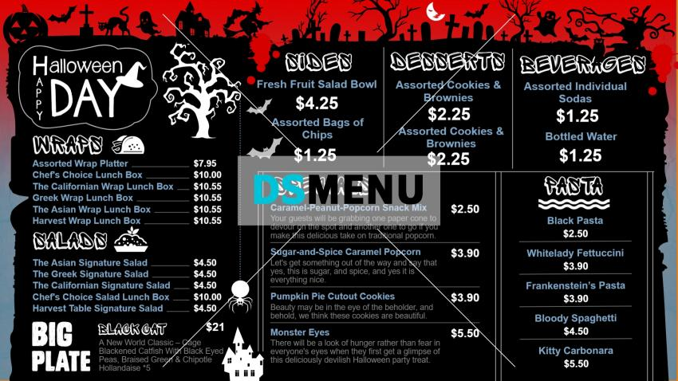 Black Halloween Digital Signage Menu Board from Dsmenu