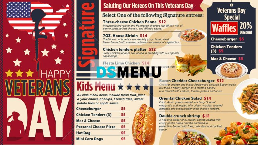 Bold Veterans day digital signage menu design for free