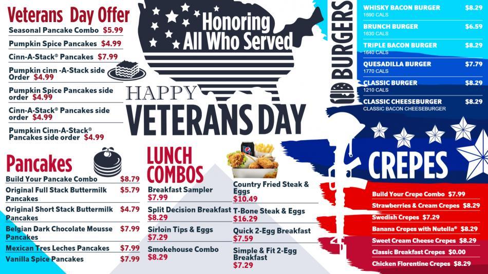Attractive Veterans Day Digital Menu Board from DSMenu