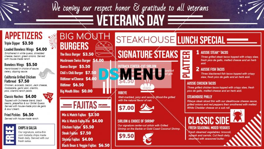 Red Veterans Day Digital Signage Menu Board free template from  Dsmenu