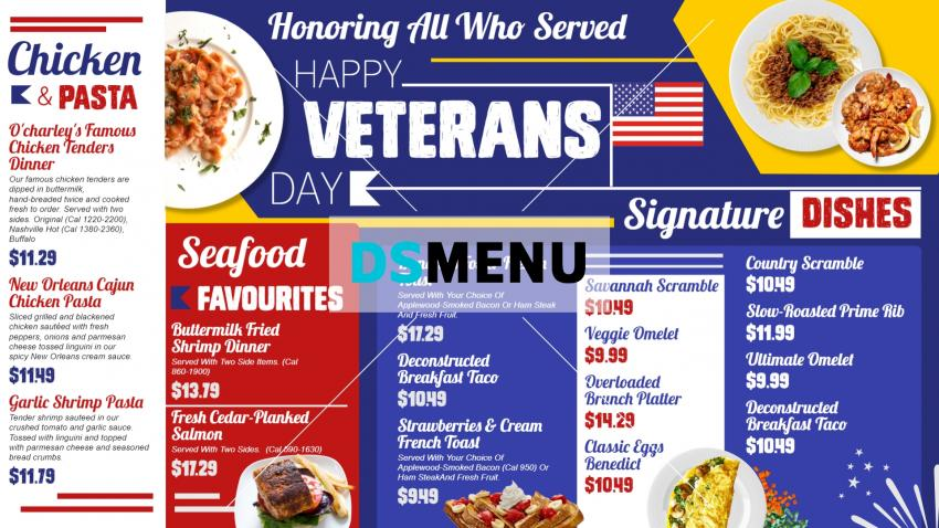 Bold Veterans day digital signage menu for restaurants
