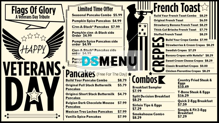 Veterans Day Digital Signage Restaurant Menu Board Design