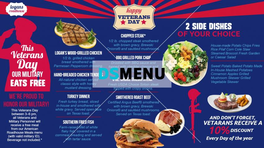 Bold Veterans Day Digital Signage Menu Board template from DSMenu