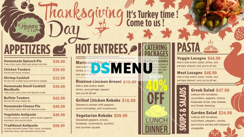 Digital signage menu board for Thanksgiving day from DsMenu