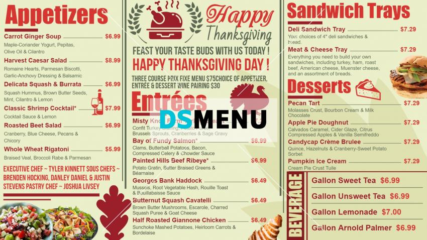 Clean Thanksgiving Day Digital Menu Board from DsMenu