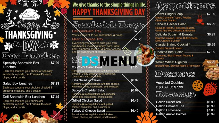 Black Thanksgiving day festive digital signage menu from DsMenu