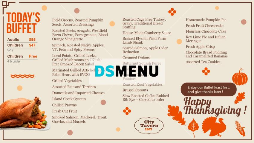 Thanksgiving Restaurant Menu Template from DSMenu