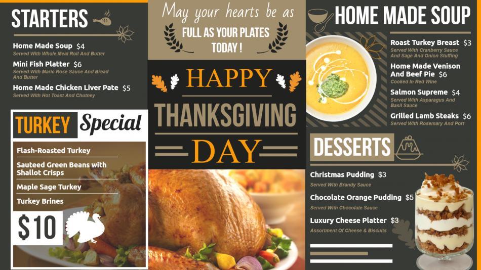 Thanksgiving Digital Signage Menu from DSMenu