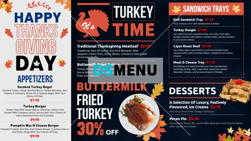 Multi color restaurant menu for digital signage