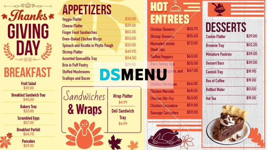 Thanksgiving restaurant Menu templates for digital signage