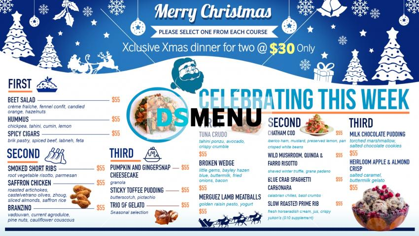 Christmas menu board template from Dsmenu for restaurant marketing
