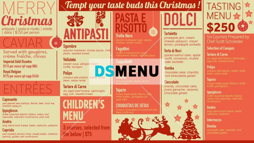 Christmas menu for digital signage restaurant menu Template