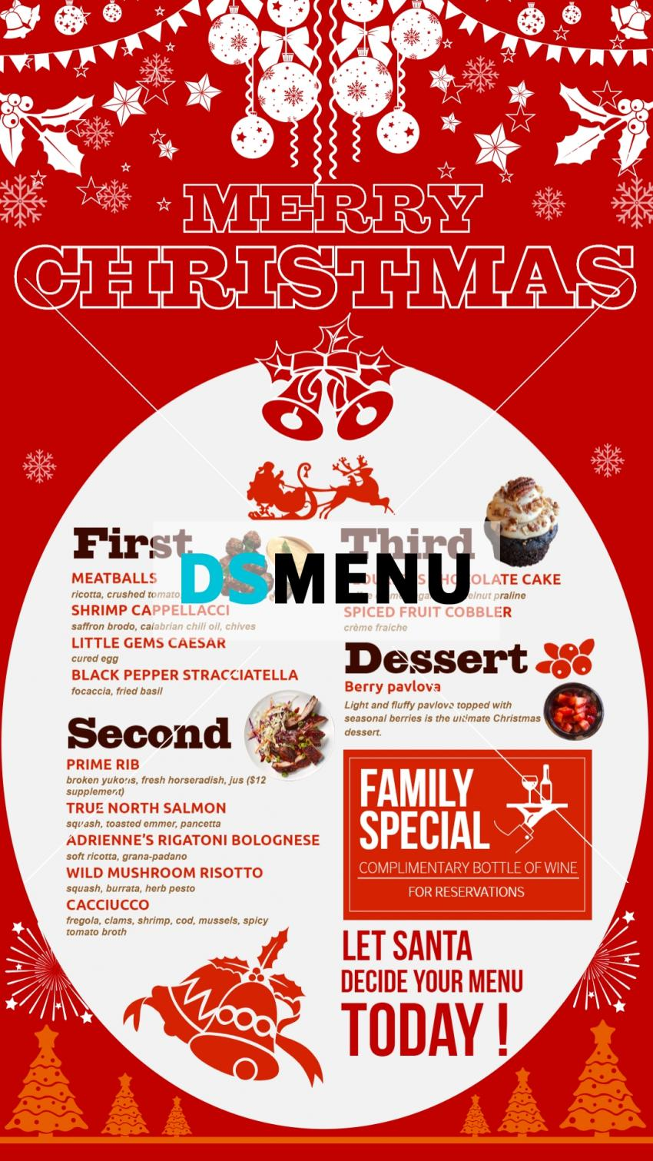 Red vertical Christmas menu for digital signage for restaurants