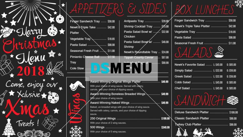 Christmas chalk Menu board for restaurants and restaurant marketing