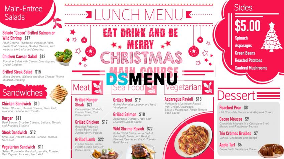 Christmas menu design template for restaurants and restaurant merketing