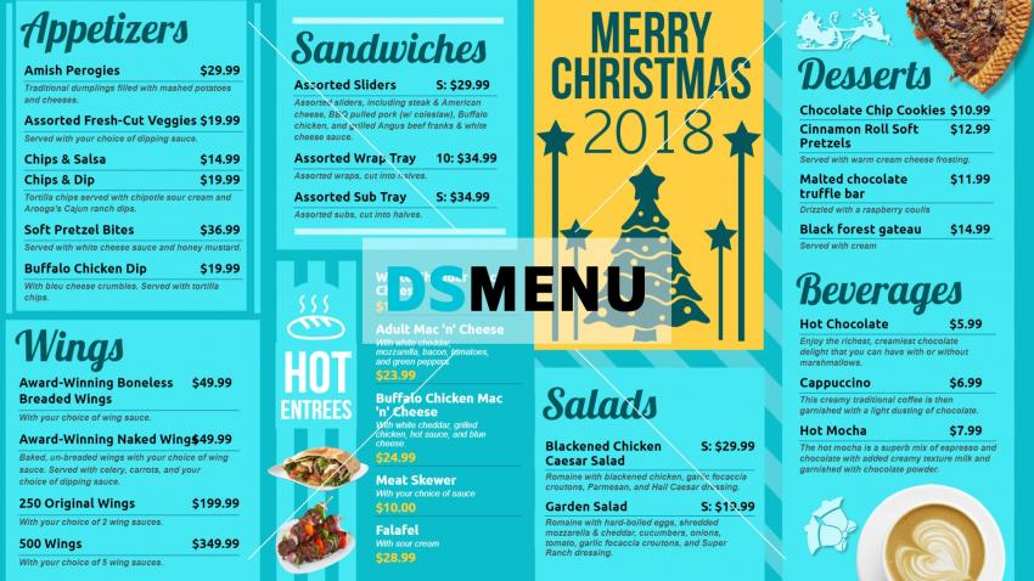 Cheap Christmas signage menu board for restaurants