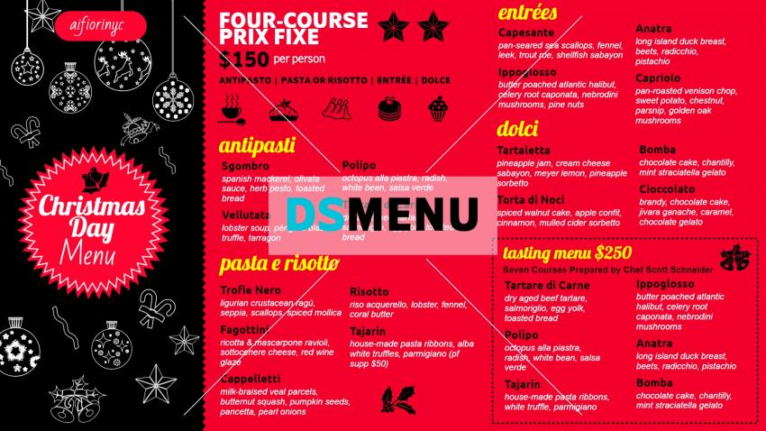 Dark Christmas Signage Menu for Restaurant Marketing
