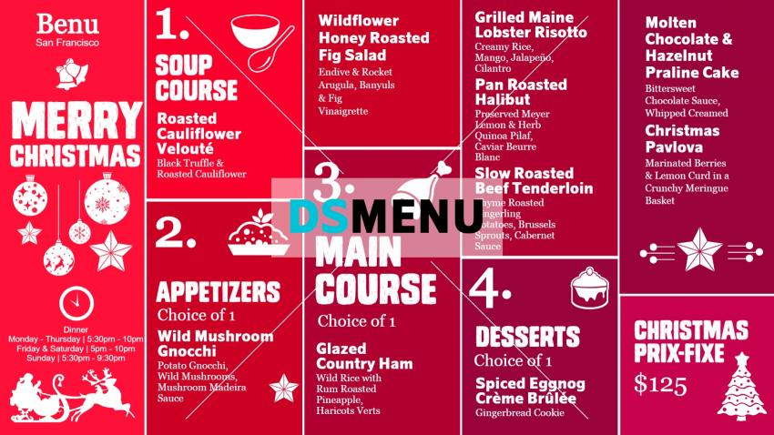Christmas menu template for digital signage