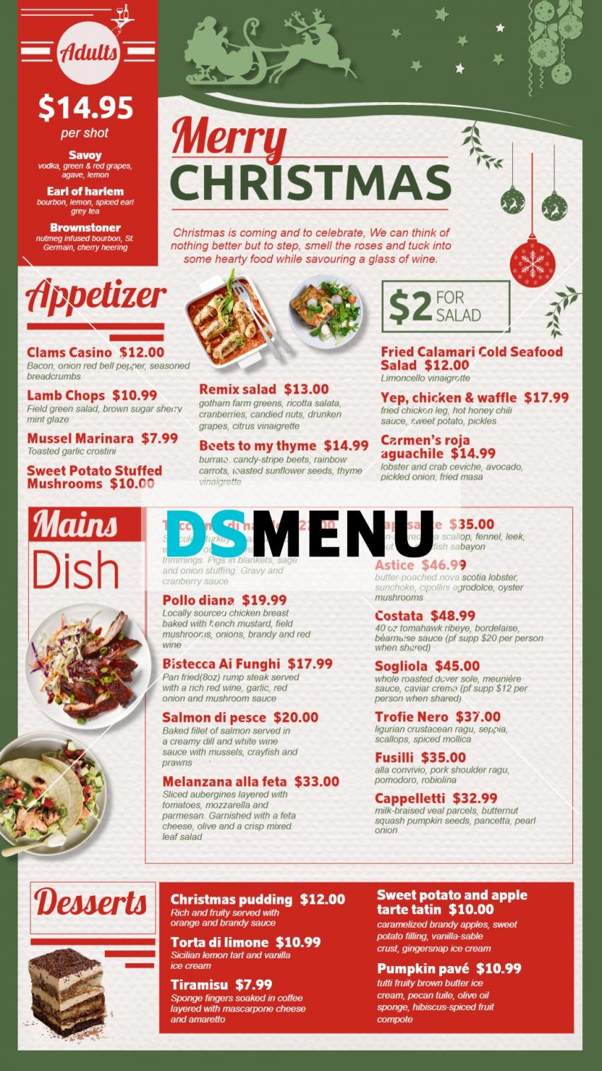 Vertical Christmas menu board for digital signage