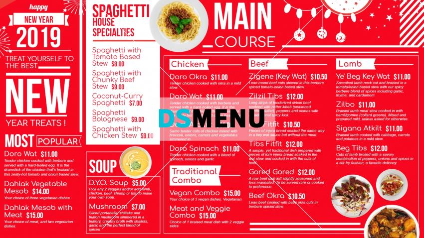 Download free New Year Menu Template for restaurants