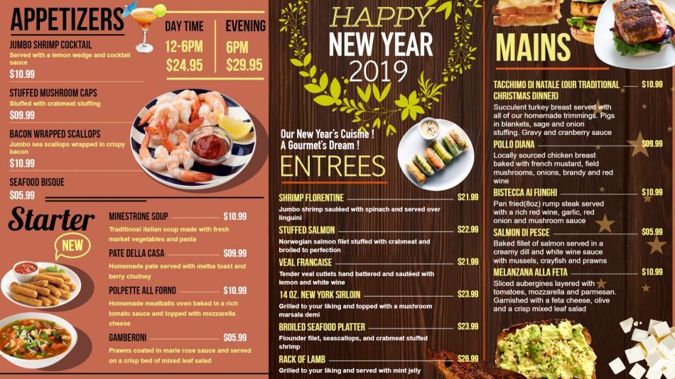 Download free New Year Menu Board Design