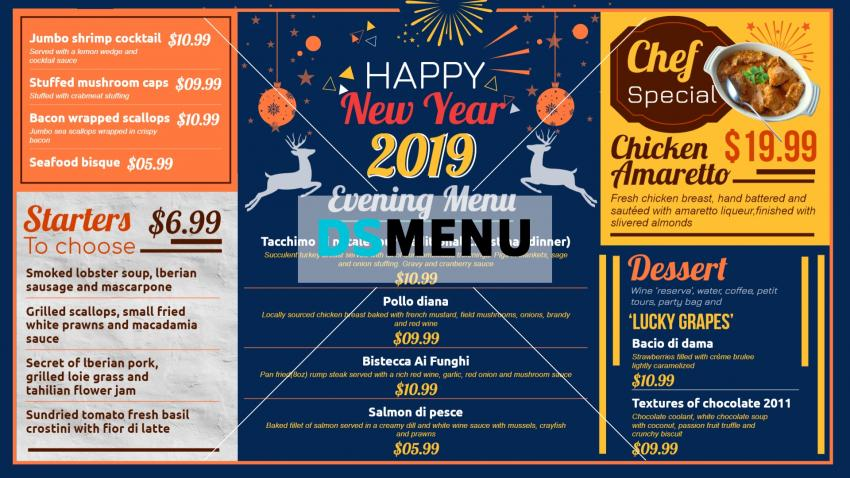 New Year Menu Design for free for restaurants