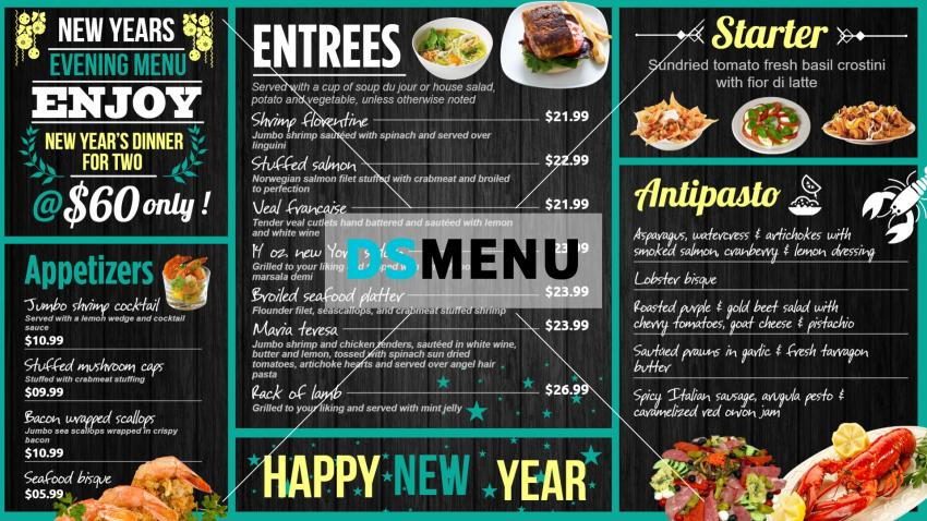 Download New Year signage menu board