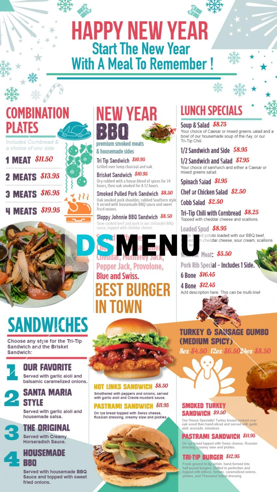New Year vertical Menu for digital signage for restaurants