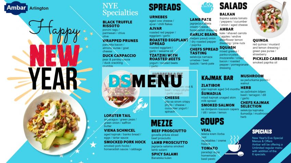 New Year eve menu design for restaurant