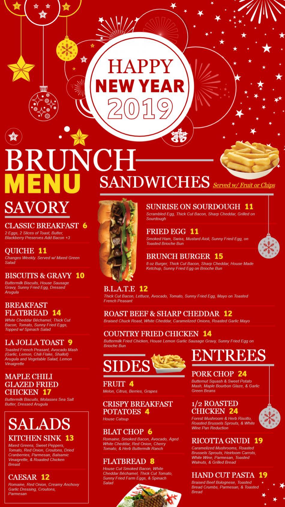 New Year vertical menu board design