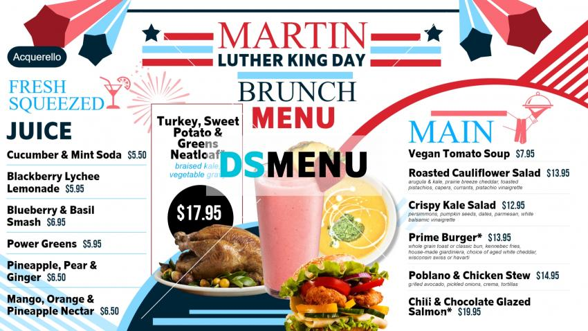 Martin Luther King Day Menu board