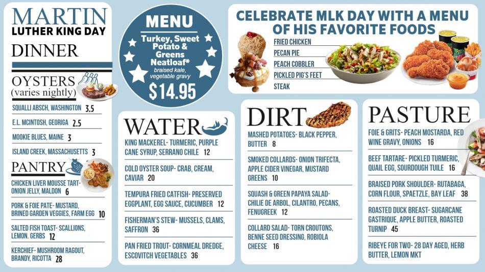 Martin Luther King Day Menu Design for Restaurants
