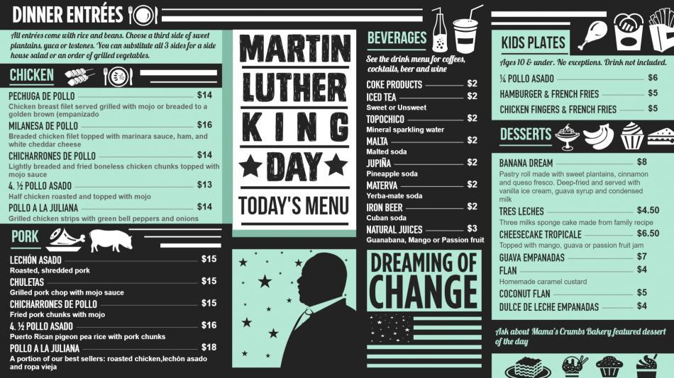 Martin Luther King Day Vintage Menu