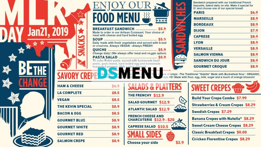 Martin Luther King Day Vintage Menu Template