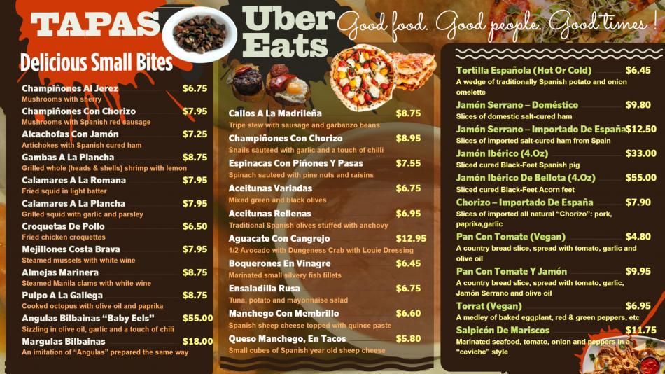 Spanish Tapas menu board