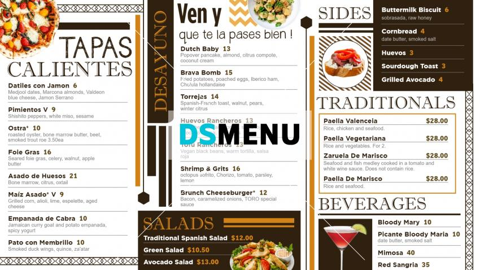 Tapas Signage Menu for Restaurants and Restaurant Marketing