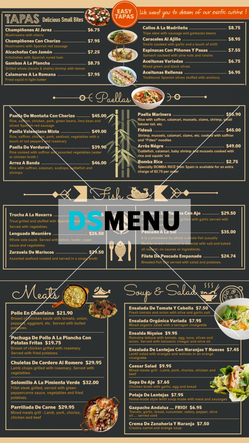 Tapas Spanish vertical Menu for restaurant digital signage