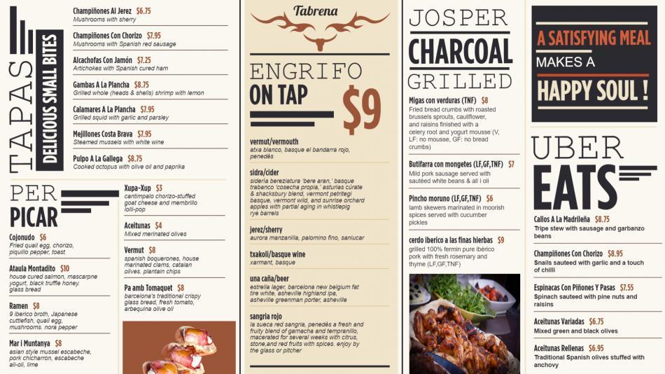 Tapas restaurant menu concept for digital signage