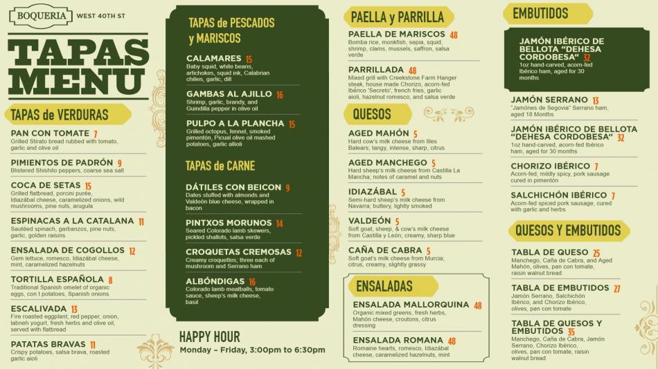 Tapas menu design for restaurant for digital signage