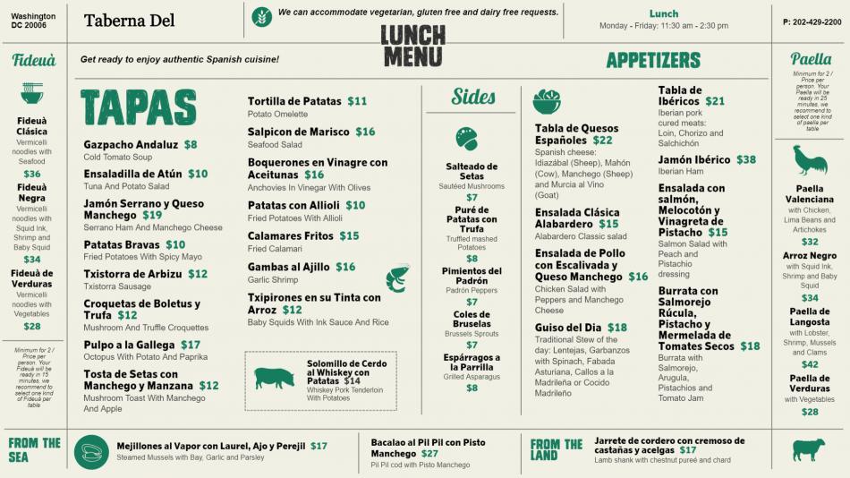 Tapas menu board design for digital signage