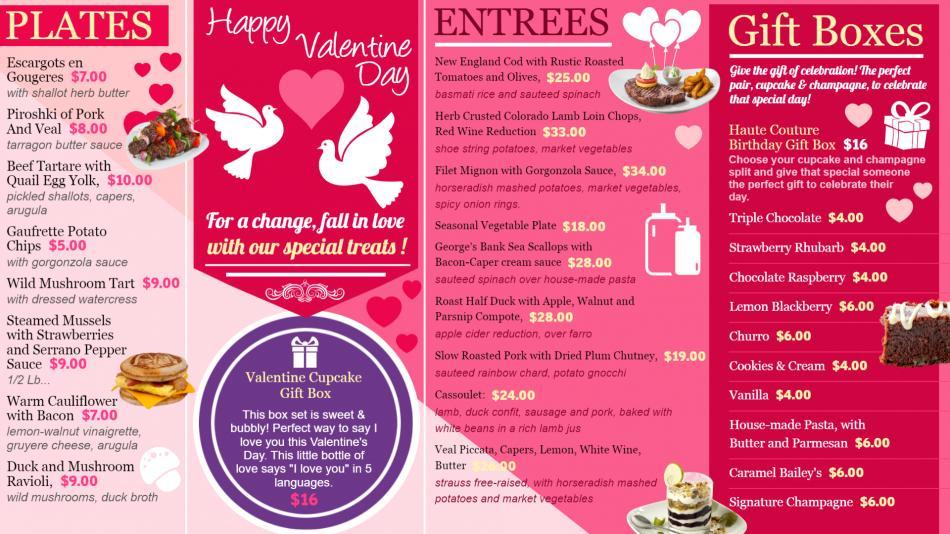 Valentine's day Menu-board design