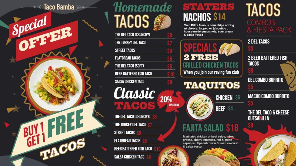 Bold Tacos Offer menu for digital signage