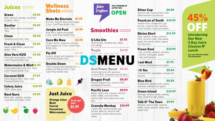 Juice Bar menu for digital signage for Restaurant