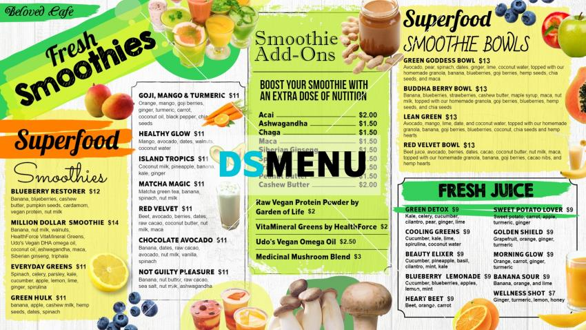 Smoothies Menu for restaurants