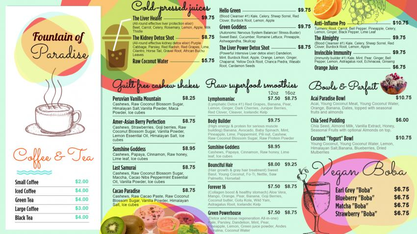 Smoothies menus for free download for restaurants