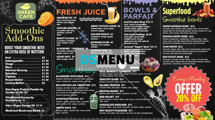 Black Smoothies and Super food Menu