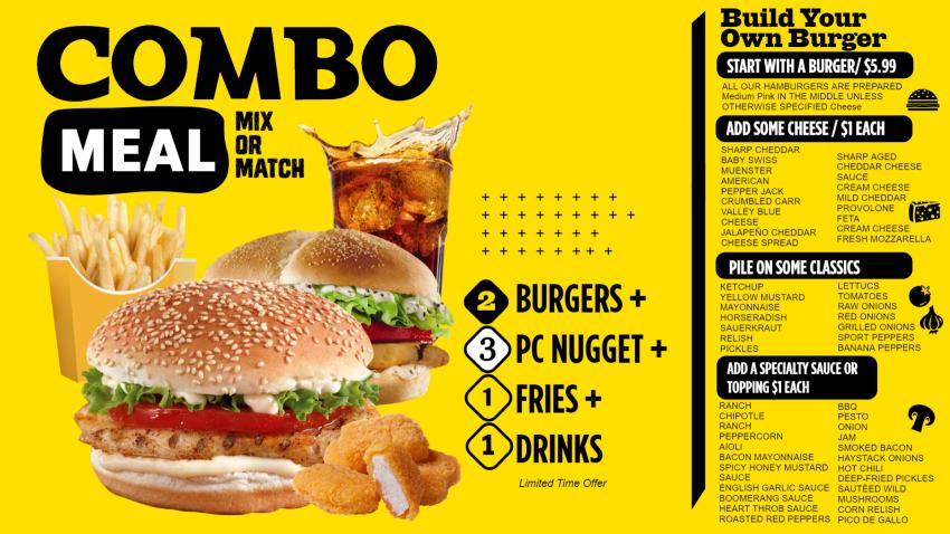 Burger Combo Pack Menu template for restaurant